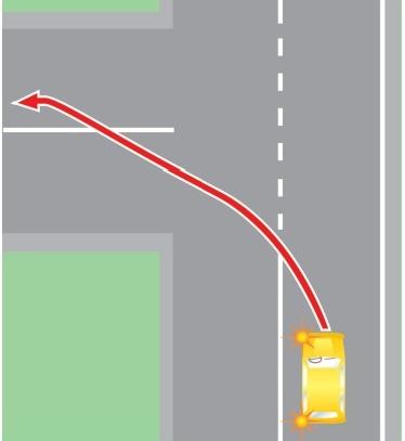 Выезд в нарушение ПДД на полосу, предназначенную для встречного движения, при повороте налево.